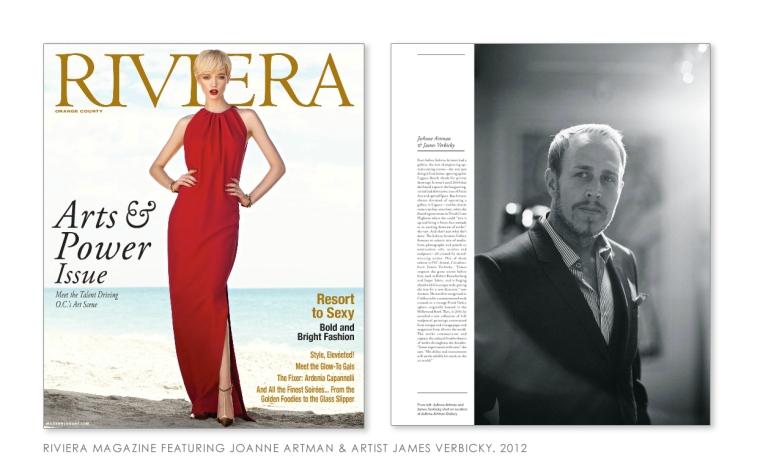 Riviera Magazine ARTS & POWER Issue- spotlight on Joanne Artman & James Verbicky