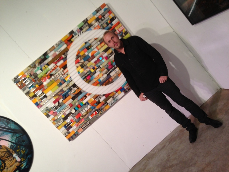 Artist James Verbicky with his Piece at the 2013 Art of Elysium 'Pieces of Heaven' Auction
