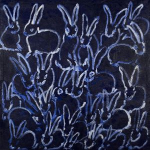 Hunt Slonem 'Untitled CHL0290' Blue Bunnies