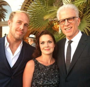 From Left: Artist James Verbicky, Lauren Verbicky, and Ted Danson at the 2014 SeaChange Summer Party benefitting Oceana.