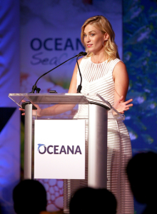 Actress January Jones discussing her love of sharks at the 2015 Sea Change Summer Party benefiting Oceana.