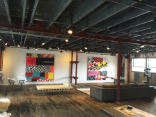 James Verbicky's studio with installed 'Era' paintings, 90 x 90 inches.
